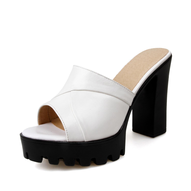 Estate bianco tacchi Beige Vestito Pelle Nero Donna il Piattaforma Alti Nuovi Signore In Elegante Donne Pattini Di Mucca 2019 Della Pantofole Super Delle BnI6S