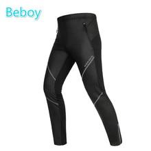 Windproof Thermal Fleece Winter Cycling Pants Men PU Leather Waterproof Bike Pants Reflective Zipper Tight Sport Leggings
