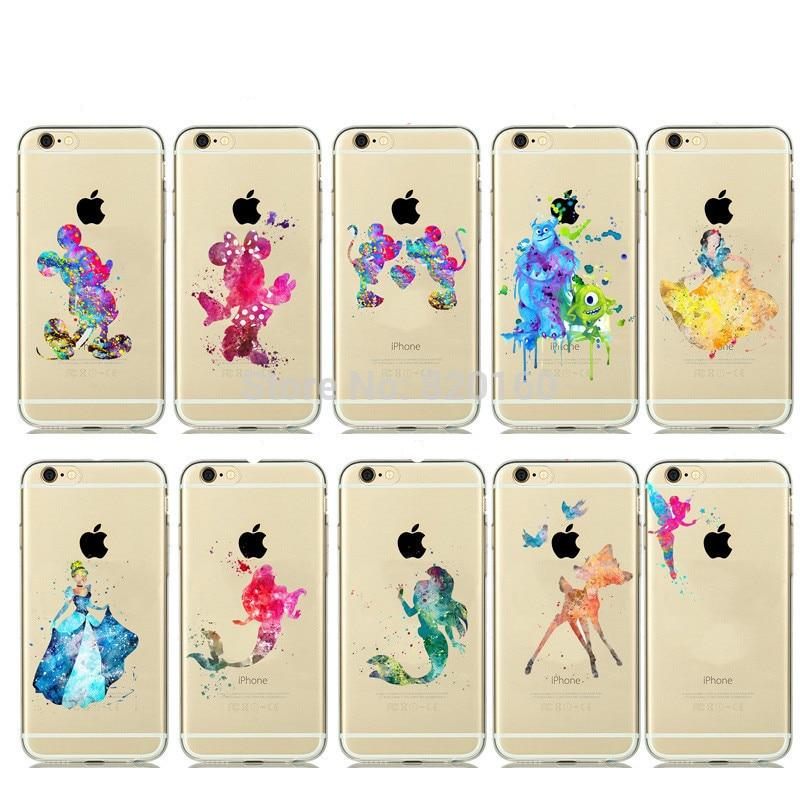 Цена за Для iphone 4 4S 5C 5 5S SE 6 6S 7 Plus акварель поцелуи Микки и Минни Маус мышь Русалочка прозрачный пластик случае