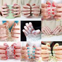 24pcs Fashion Long Fake Nails Tips Girl Bride Red 3D Fake Nails Wrapped Tips Artificial False Nail Decor