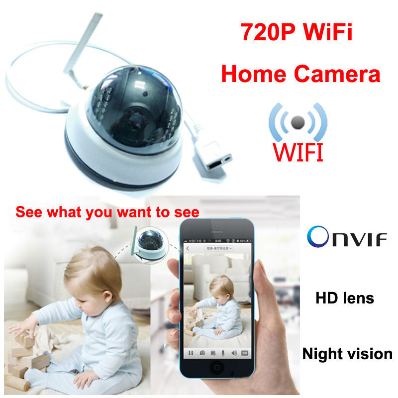 ФОТО security product Mini Dome wifi camera 720P HD Network Cam wireless CCTV Camera Indoor ips system ONVIF Support Iphone Android