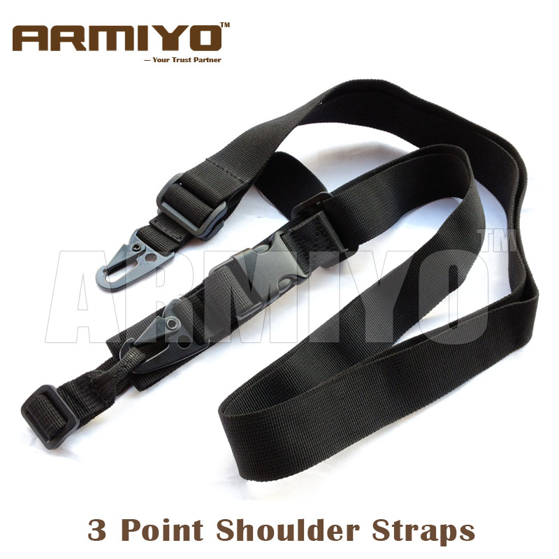 Armiyo 3 Point Adjustable Bungee Gun Shoulder Strap Harnesses Wrap Ring Hook Sling System Hunting Shooting Accessories