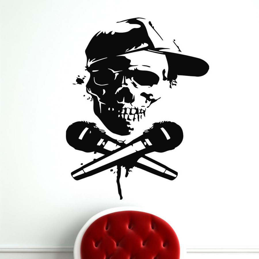 Skull Rapper MC Stickers Rap Music Wall Vinyl Wall Decals Home Interior Murals Art Decoration Vinilos Paredes Vinyl Poster A286(China)