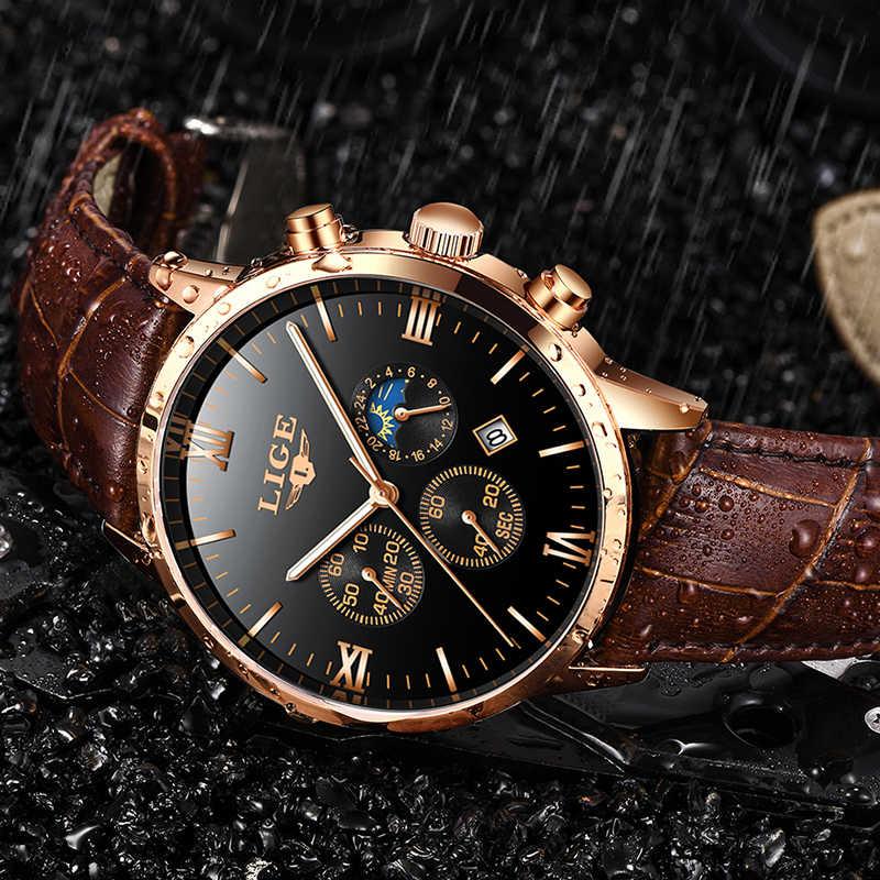 2019 LIGE relojes para hombres reloj de cuarzo resistente al agua de marca superior para hombre reloj de pulsera de cuero Casual de oro reloj Masculino