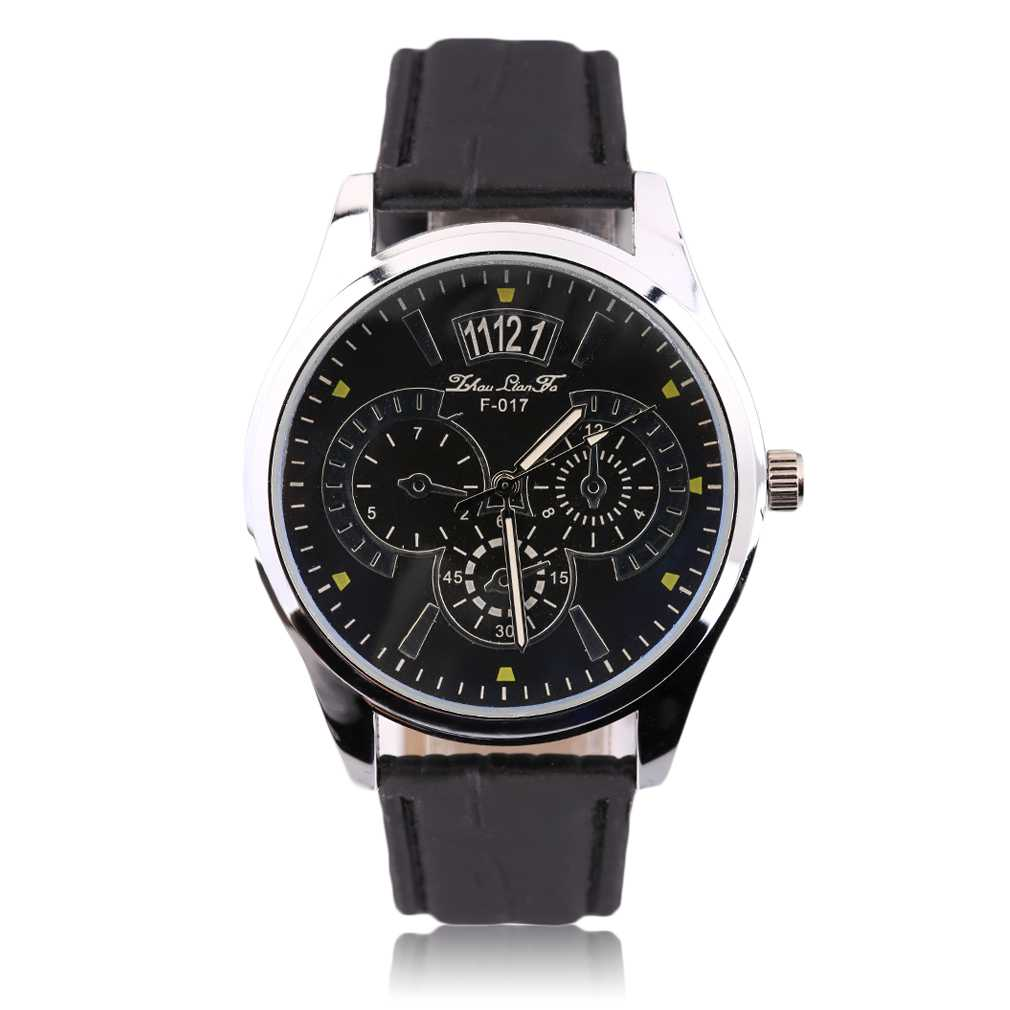 Fake Three Eye On Dial Quartz Watch Gentle Men Fashion Casual Business Watch Faux Leather Strap