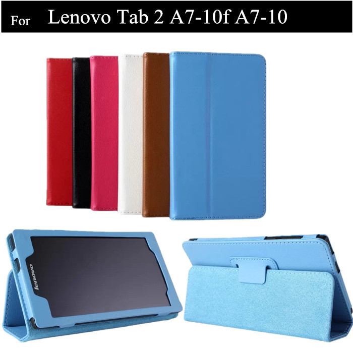 A7-10F Tablet Case Lichee Pattern PU Flip Cover Case For Lenovo Tab 2 A7-20 7.0 Tablet Leather Case +Protectors+stylus for lenovo tab 2 a7 30 2015 tablet pc protective leather stand flip case cover for lenovo a7 30 screen protector stylus pen