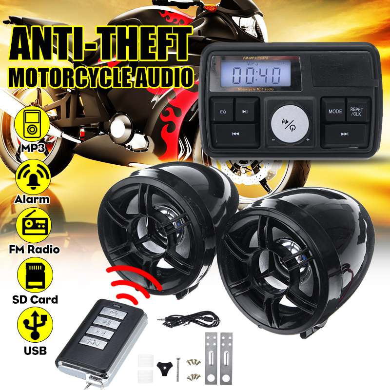 Motorcycle Audio Waterproof Anti-theft Alarm System Stereo Sound Speaker FM Radio MP3 Player Music Amplifier With Remote Control