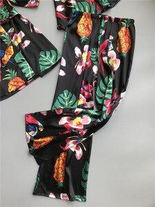 Image 4 - ZOOLIM primavera mujer 3 piezas pijamas de seda conjuntos con pantalones estampado de flores espagueti Correa Pijama satén elegante sensual ropa de casa Pijama