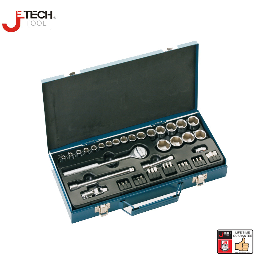 "Jetech 46pcs 3/8"" Drive Socket Sets With Ratchet Extension Bar 3"" 6"" Mechanics Tools Sleeve Wrench Set Chiavi A Cricchetto"