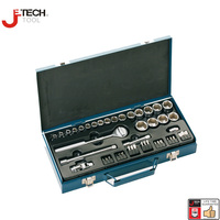 Jetech 46pcs 3 8 Drive Socket Sets With Ratchet Extension Bar 3 6 Mechanics Tools Sleeve