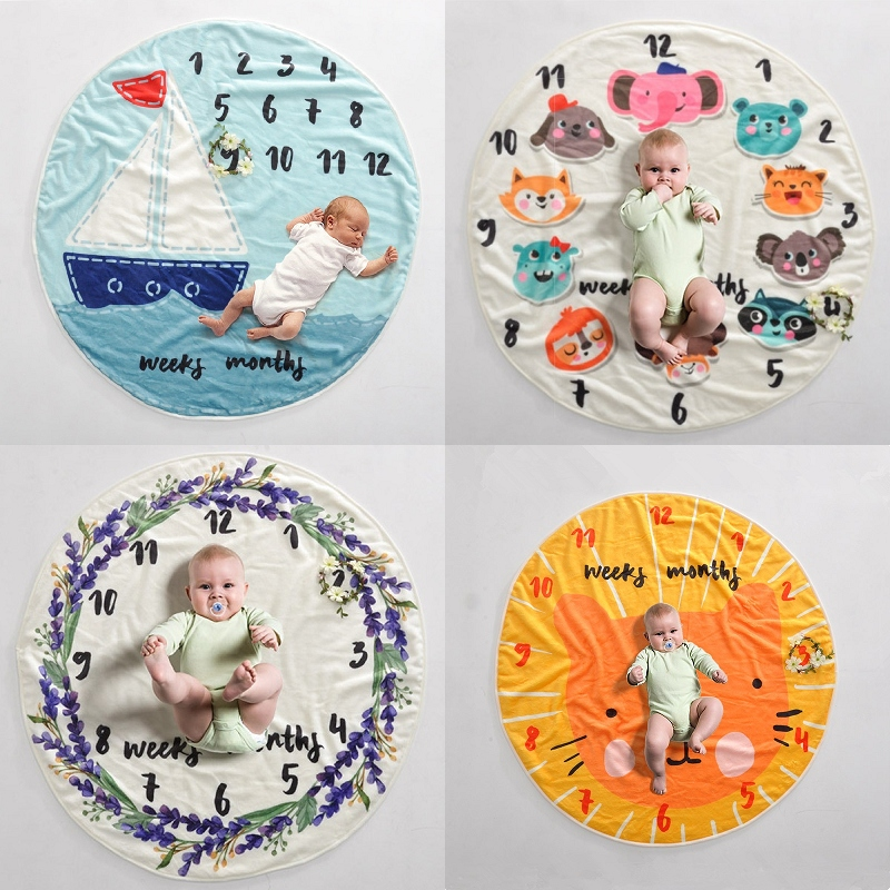4 Style Cute Multi-functional Baby Birth Commemorat Photo Props Round Blankets Play Mats Nordic Style Kids Bed Room Decor