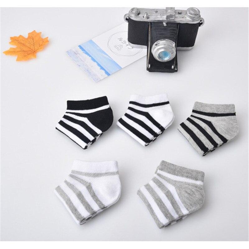5 Pair=10PCS/lot Baby Socks Neonatal Spring Summer Mesh Cotton Plain Stripes Kids Girls Boys Children Socks For 4-12 Year 4