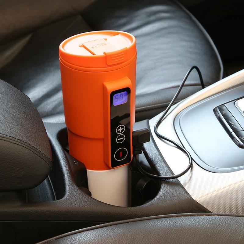 410 ml 12 V voiture tasse de chauffage en acier inoxydable véhicule intelligent Thermos tasse à café thé chauffe-eau allume-cigare adaptateur bouteille