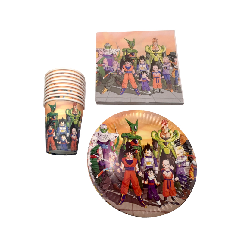 60pcs/lot Dragon Ball Theme Napkins Plates Cups Baby Shower Events Decoration Boys favors Dishes Birthday Party Tableware Set