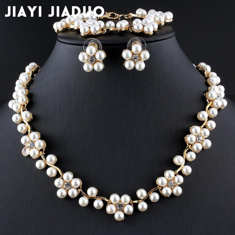 Humorvoll Jiayijiaduo Imitation Perle Gold-farbe Schmuck Set Für Frauen Braut Hochzeit Zubehör Halskette Ohrringe Armband Party Brautschmuck Sets