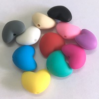 BPA Free 100% Food Grade Heart Shape Silicone Loose Beads Non-toxic Silicone Loving Heart Beads Teething Baby Chew Beads