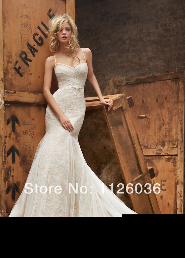 Custom hayley paige Wedding Dress Sexy Spaghetti Strap Criss Cross Bust Low  Back Lace Mermaid Bridal Gown-in Wedding Dresses from Weddings   Events on  ... 80b7a25f7164