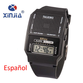 Simple Old Men and Women Talking Watch Speak Spanish Portugues Electronic Digital Sports WristWatches For The Blind People Elder