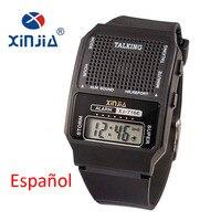 Простые часы для пожилых мужчин и женщин, говорящие на испанском языке, электронные цифровые спортивные наручные часы для слепых пожилых лю...