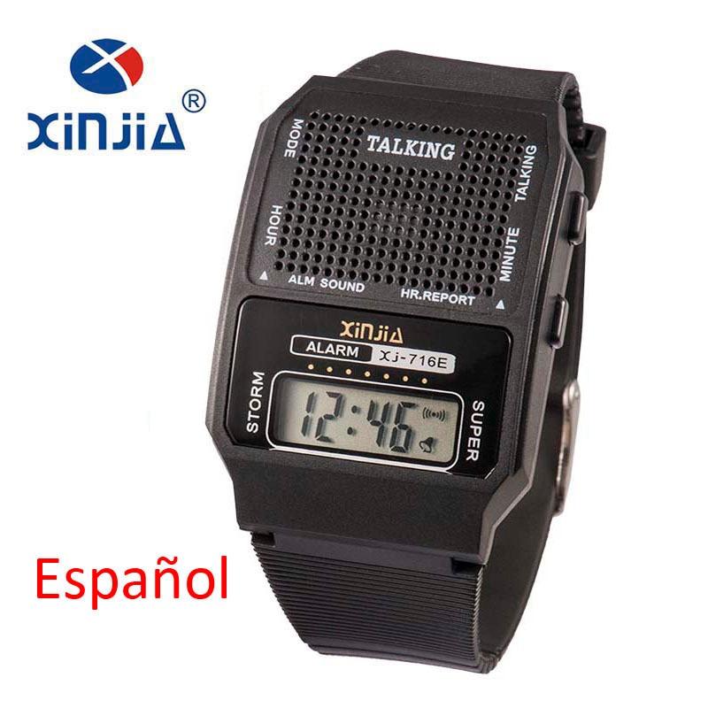 Simples Homens e Mulheres Idosos Falando Relógio Falar Espanhol Eletrônico Digital Sports Relógios De Pulso Para As Pessoas Cegas Mais Velho