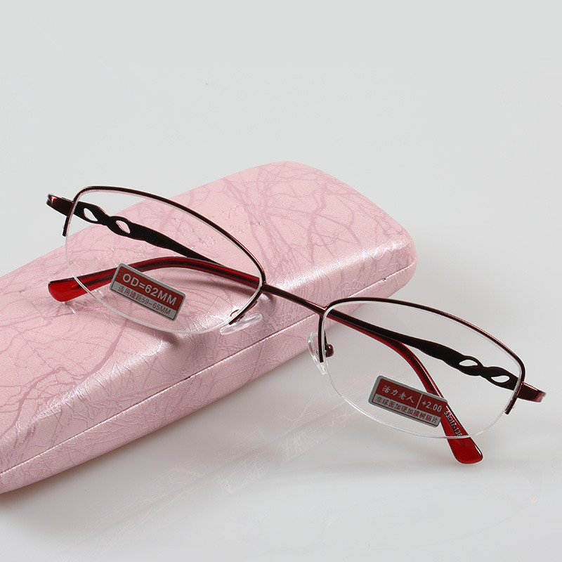 Chashma Anti Reflective Clear Lenses Half Frame Metal Red Optical Reading Glasses Women Fashion Eyeglasses for Read