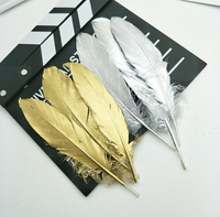 Wholesale! 100pcs/Lot Beautiful Dyeing Goose silver Feathers length 6 8 inch/15 20 cm Golden For Wedding Decor Party Supplies