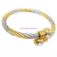 Fashion Twisted Cable Bracelet Stainless Steel Silver Gold Top CZ Open Cuff Bangle Cable Wire Bracelet