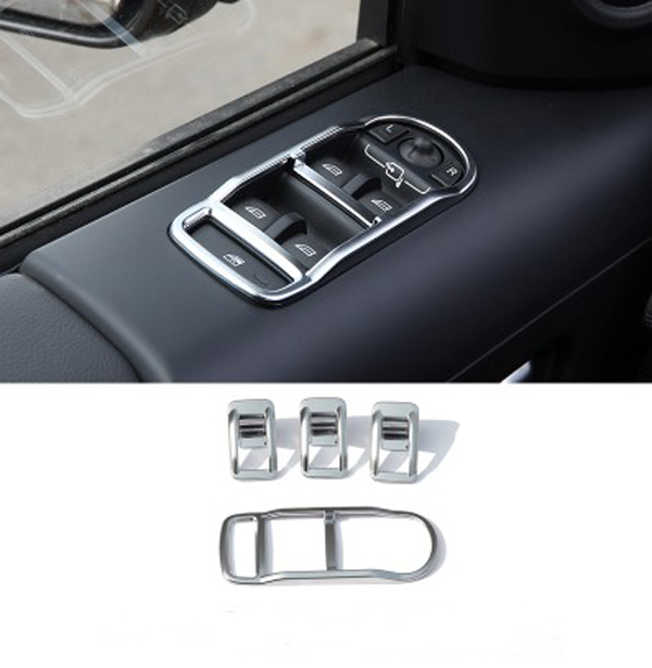 Chrome Car Door Window Switch Panel Cover Trim Car Window Glass Button Cover Frame For Land Rover Freelander 2 2009-2016 Styling