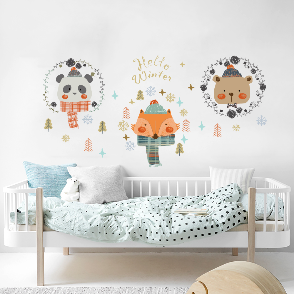 Fox Panda Bear Wall Stickers For Kids Bedroom Study Room Decoration Decal Kindergarten Home Decor Qtm487 4 In From Garden