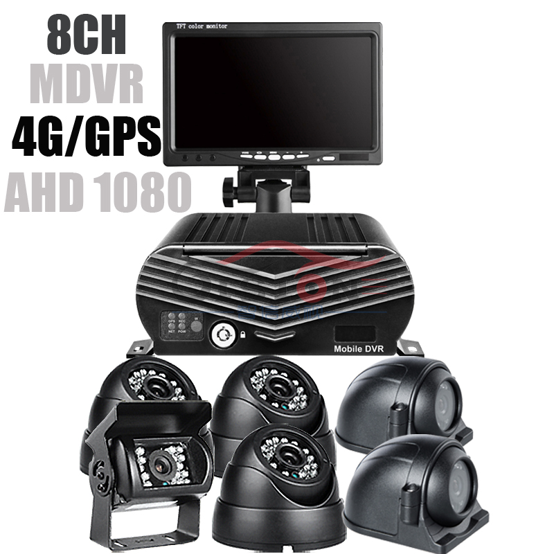 6Pcs 2.0MP Truck Cameras, 4G LTE 8 Channel AHD 1080 Hard Disk Car Mobile DVR Kit GPS Record Remote Monitor with 7 Inch Display 6Pcs 2.0MP Truck Cameras, 4G LTE 8 Channel AHD 1080 Hard Disk Car Mobile DVR Kit GPS Record Remote Monitor with 7 Inch Display