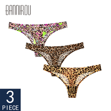 Sexy Thongs Woman Underwear Panty Leopard Female T-back Soft G-string 3 Pcs Seamless Print Foral Thong For 2019