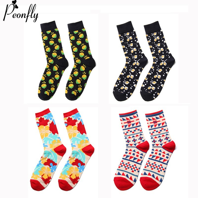 PEONFLY Winter Colorful Cartoon Beer Mug Lemon Geometry Pattern Cotton Jacquard men   Sock   High Quality Happy Street Skate   Socks