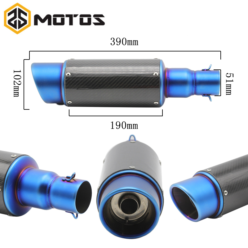 ZS MOTOS 51mm Modified Motorcycle Exhaust Pipe Muffler Universal Scooter GY6 Exhaust Bevel Inlet Akrapovic Exhaust Z750 TMAX