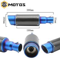 ZS MOTOS 51mm Modified Motorcycle Exhaust Pipe Muffler Universal Scooter GY6 Exhaust Bevel Inlet Akrapovic Exhaust