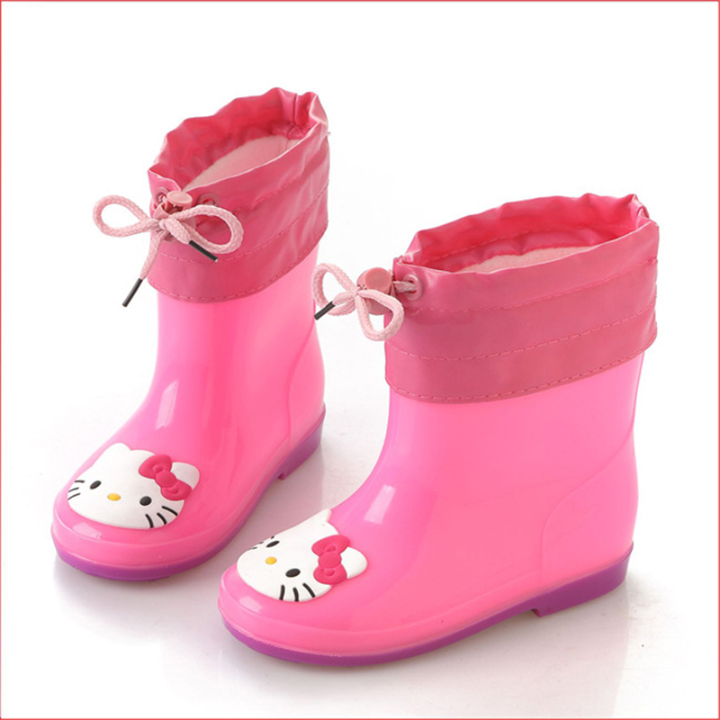 Mntrerm 2017 Children Rain Boots Boys Girls Baby Kids Rhino Candy Color with Frog Cat Rabbit Rain Boots Waterproof Shoes