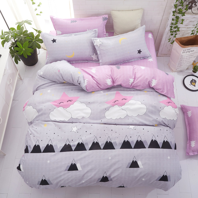 Grey bedding set 2018 summer bed linens 3or 4pcs/set duvet cover set Pastoral bed set kids / Adult bedding bedclothes queen kin