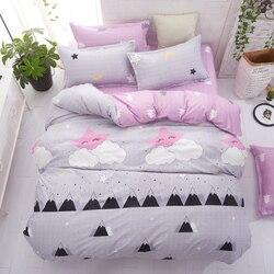 Grey bedding set 2018 summer bed linens 4pcs/set duvet cover set Pastoral bed set kids / Adult bedding bedclothes queen king