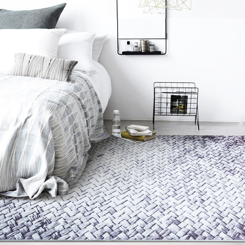 European Modern Simple Black and White Stripes Imitation Woven Rectangular Carpet Washable Non Slip Rug for Sofa Living Room