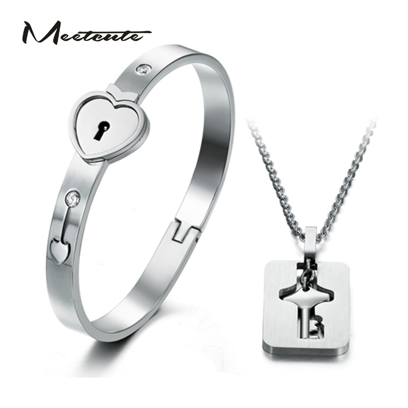 Meetcute Herz Schloss Liebe Schmuck Sets mit Schloss Schlüssel Anhänger Halskette Titan Stahl herz Lock Armband Schlüssel Halskette für Paare