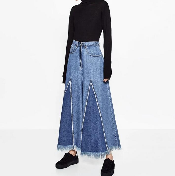 2017 new spring fashion high waist wide leg pants denim pants casual loose frayed women s