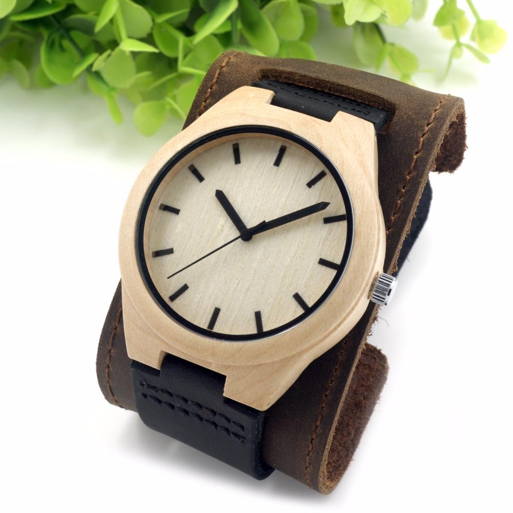 Prix pour Bobo bird ronde vintage hommes de montres bambou maple top marque de luxe en cuir véritable montres robe montres pour hommes