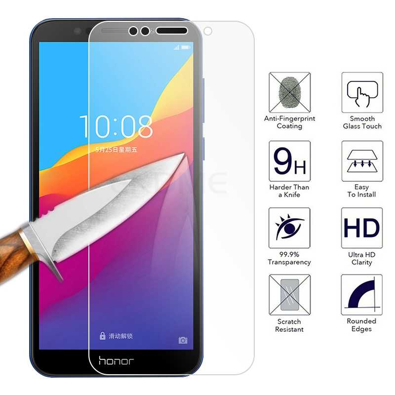 9H Tempered Glass for Huawei Y5 2018 Y7 Y6 Prime 2018 Screen Protector Film For Honor 7A 7C Pro 5.7 Protective Glass Cover Film