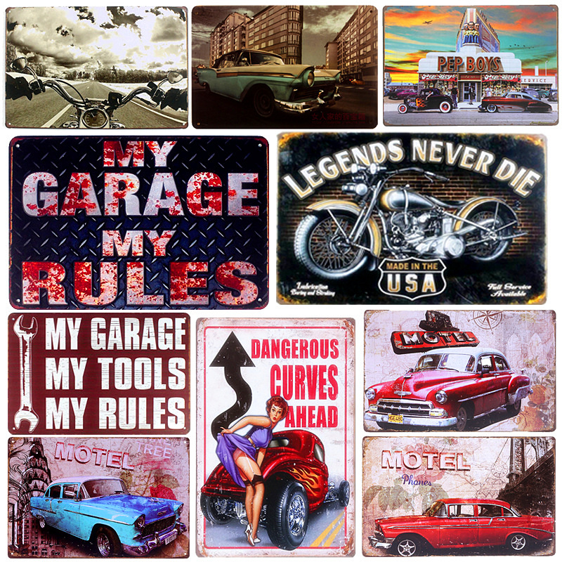 Vintage Metal Tin Signs Motorcycle Retro Plaque Poster Bar Pub Club Wall Tavern Garage Home Decor ափսե Art Craft 20 * 30cm A124