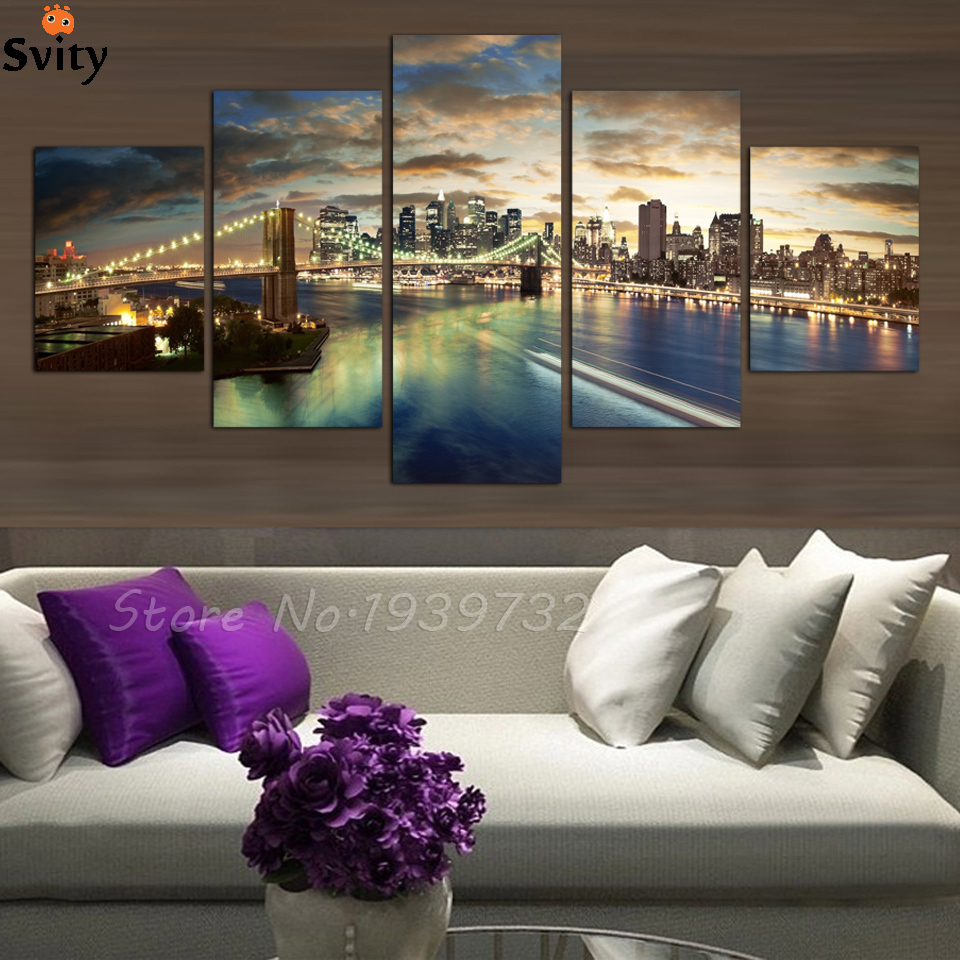 Large Wall Pictures For Living Room: 5 Panel High Quality New York City Landscape Canvas