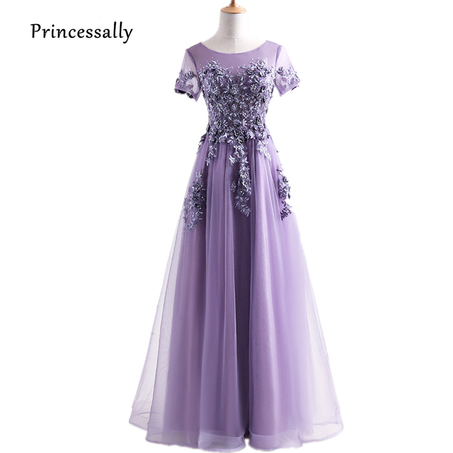 Robe De Soriee New Sweet Purple Evening Dress Long Short Sleeves Appliques  Beading Embriodery Luxury Formal 447a07b66e10