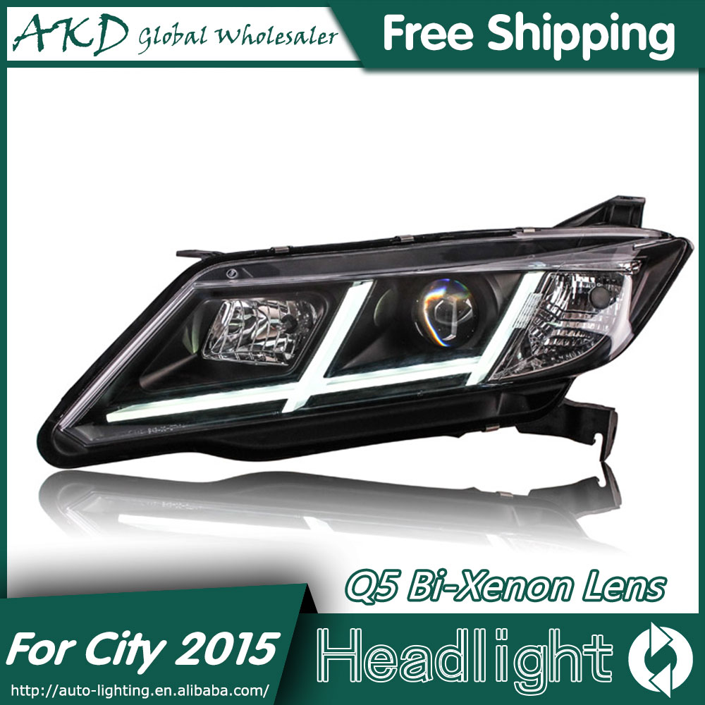 AKD Car Styling for Honda City Headlights 2014-2016 New City LED Headlight LED DRL Bi Xenon Lens High Low Beam Parking картины по номерам schipper картина по номерам знак зодиака рак 18х24 см