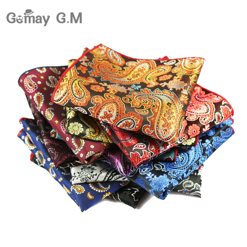 Gentlemen's Pocket Square Fashion Paisley Hanky Wedding Square Pockets For Men Paisley Pattern Polyester Handkerchief