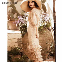 Summer Striped Linen Dress Lantern Sleeve Cascading Ruffle Maxi Dress Designer Runway High Quality Beach Casual Dress 2 Piece