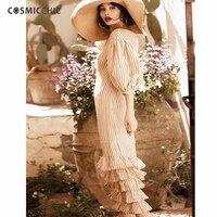 Summer Striped Linen Dress Lantern Sleeve Cascading Ruffle Maxi Dress Designer Runway High Quality Beach Casual Dress 2 Piece