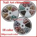 2013 New Mix 18 Color 3600 UNIDS 3 MM rhinestone 3d decoración del arte del clavo Clavos + Rotativo Contenedor Caso